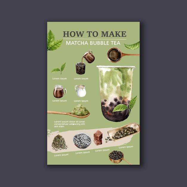 Making matcha bubble milk tea homemade, ad content modern, watercolor illustration Free Vector