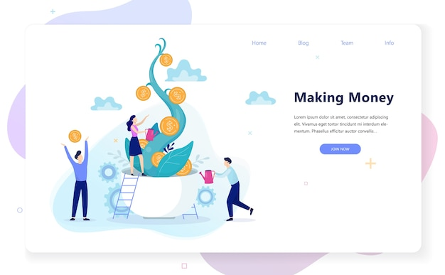 Making money concept. idea of investment and finance Premium Vector