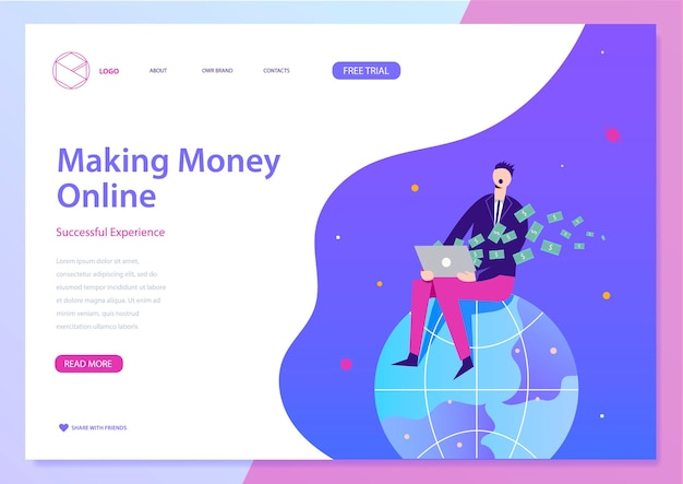 Making money online illustration, web landing page concept. man sitting on earth, earning money with laptop. Premium Vector