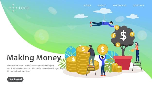 Making money, website vector illustration Premium Vector