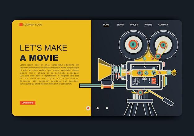 Making movie landing page Premium Vector