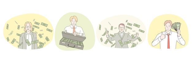 Making profit success rich people high salary businessman Premium Vector