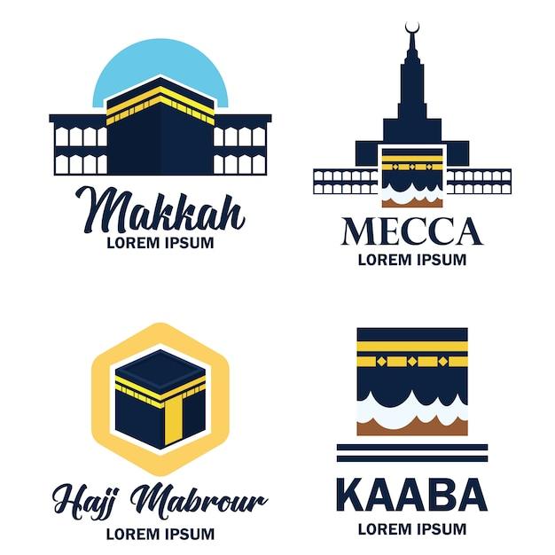 Makkah mecca kaaba hajj omra logo Premium Vector