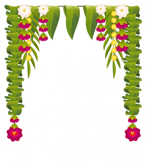 Mala indian flower garland for ugadi holiday. floral mango leaves ornate decoration Premium Vector