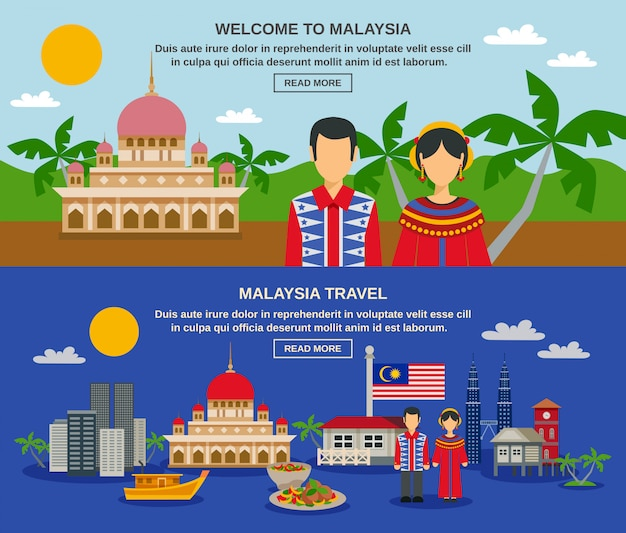 Malaysia culture 2 flat banners webpage design Free Vector