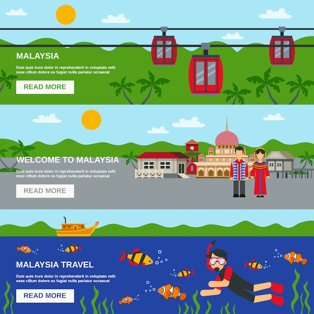 Malaysia culture 3 flat banners set Free Vector