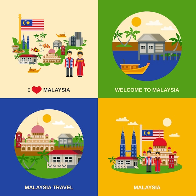 Malaysia culture 4 flat icons square Free Vector