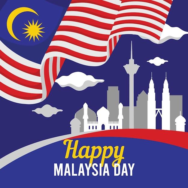 Malaysia day concept Premium Vector