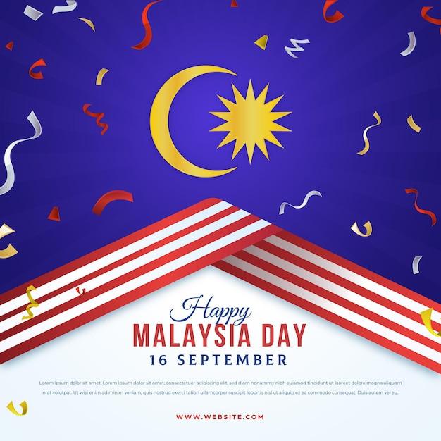 Luna e nastri di giorno della malesia Vettore gratuito