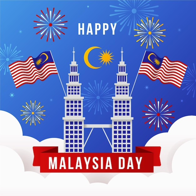 Malaysia day with fireworks Free Vector