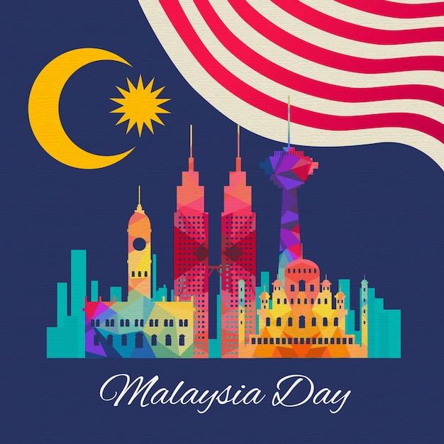 플래그와 건물 말레이시아의 날 프리미엄 벡터