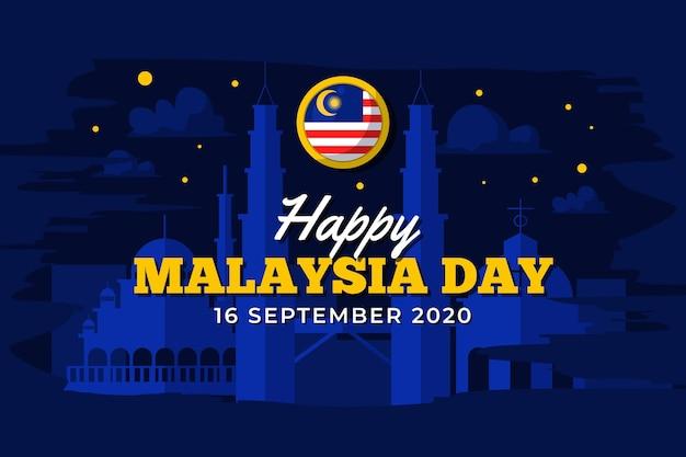 Giorno della malesia con cielo notturno Vettore gratuito