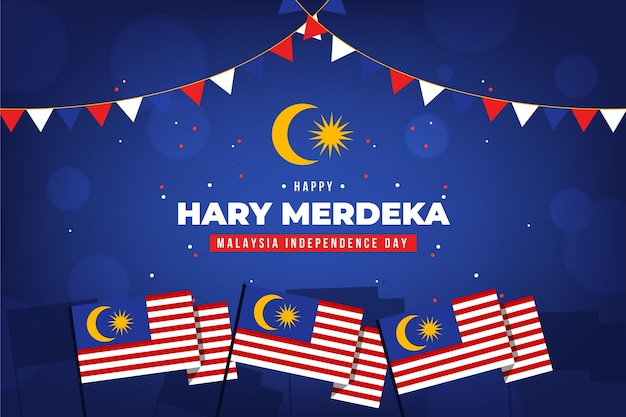 Malaysia independence day concept Free Vector