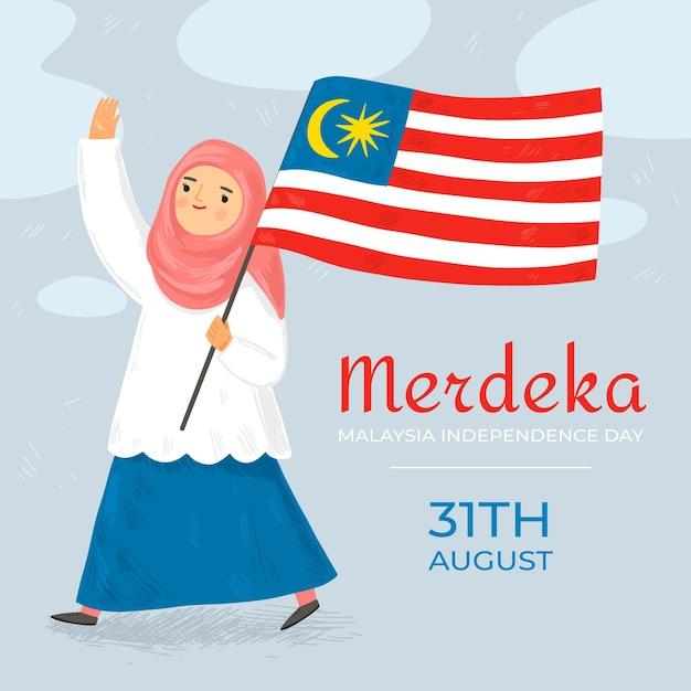 マレーシア独立記念日イベント 無料ベクター