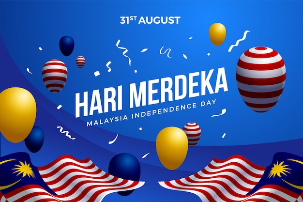 Malaysia independence day with balloons Free Vector