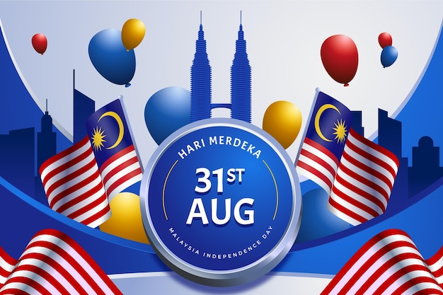 Malaysia independence day with flags and balloons Free Vector