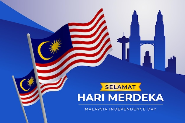 Malaysia independence day with flags Free Vector