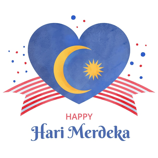 Malaysia independence day with heart Free Vector