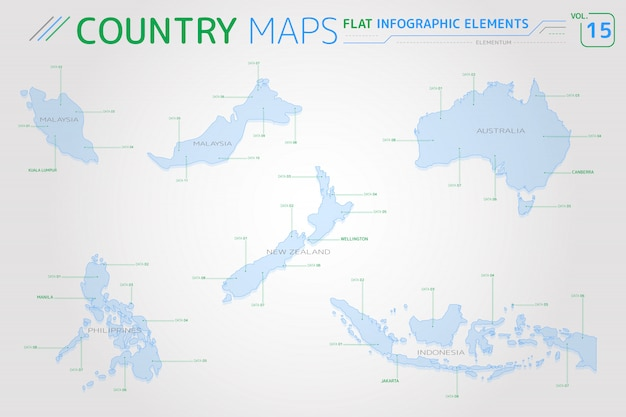 Malaysia, indonesia, australia, new zealand and philippines vector maps Premium Vector