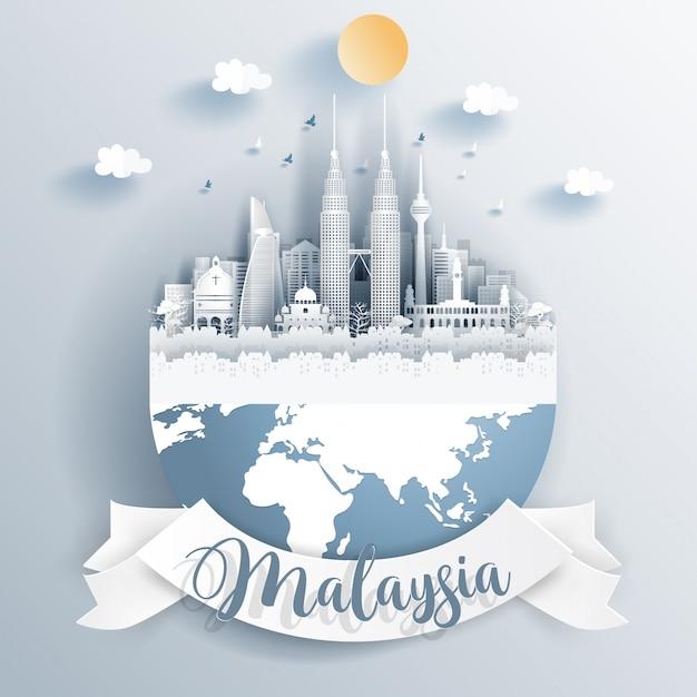 Malaysia landmarks on earth Premium Vector