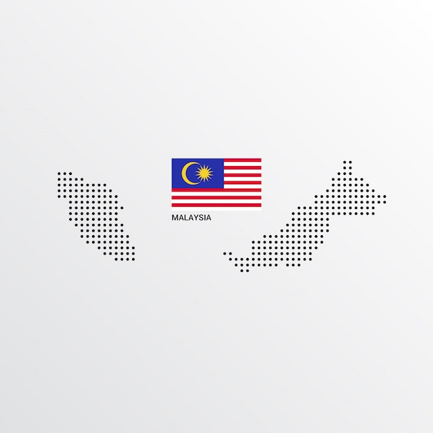 Malaysia map design with flag and light background vector Free Vector