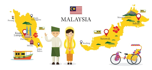 Malaysia map and landmarks with people in traditional clothing Premium Vector