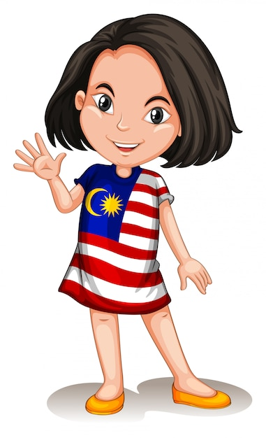 Malaysian girl waving hello Free Vector