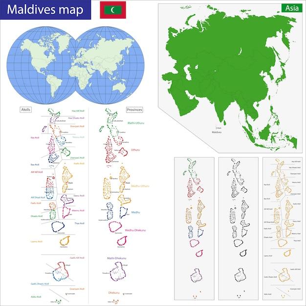 Maldives map Vector | Premium Download