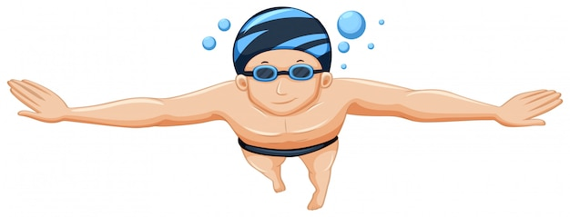 Male adult swimmer isolated Free Vector