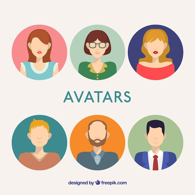 Male and female avatars in flat design Free Vector