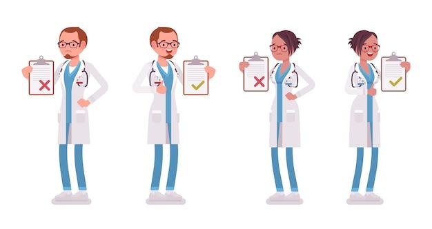 Мужской и женский доктор с буфером обмена. мужчина и женщина в больничной форме, стоя с список пациентов. медицина, концепция здравоохранения. иллюстрации шаржа стиля на белой предпосылке Premium векторы