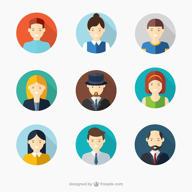 Male and female faces avatars Free Vector