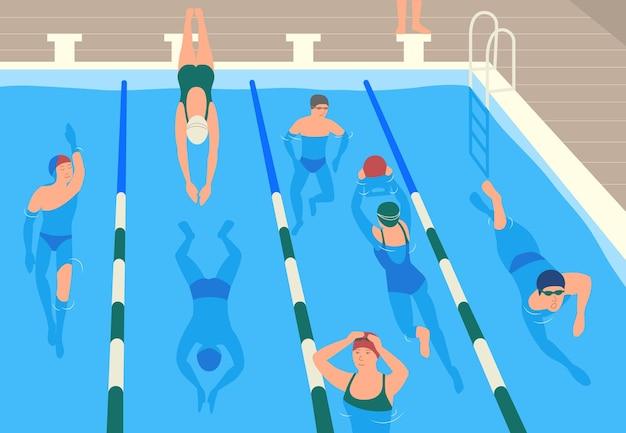 모자, 고글 및 수영복 점프 및 수영 또는 수영장에서 다이빙을 착용하는 남성과 여성의 평면 만화 캐릭터. 프리미엄 벡터