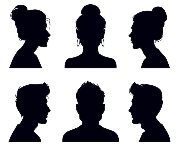 Мужские и женские силуэты головы. портреты людей и анфас, анонимные теневые портреты Premium векторы
