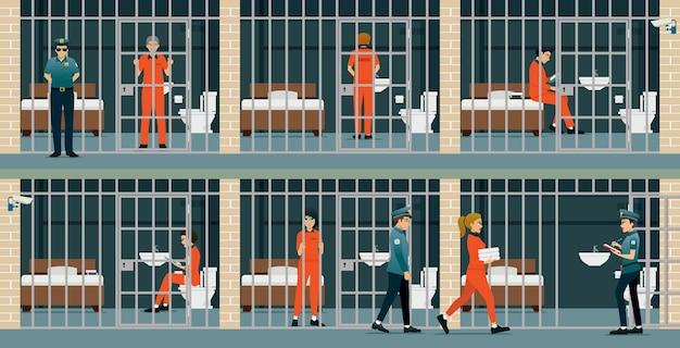 刑務所内の男性と女性の受刑者は警備員によって守られています。 Premiumベクター
