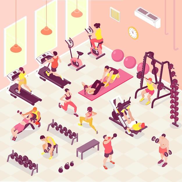체육관 3d 아이소 메트릭에서 피트니스 심장 및 웨이트 트레이닝을하는 남성과 여성의 사람들 무료 벡터