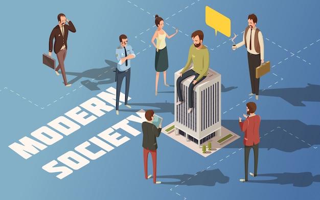 男性と女性の人々現代都市社会等尺性ベクトル図 無料ベクター