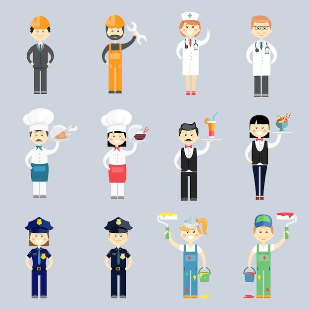 医師と看護師の料理人とシェフのウェイターとウェイトレス警察の軍曹インテリアデコレーターと建設労働者とセットの男性と女性のプロのキャラクターベクトル 無料ベクター