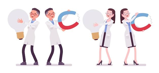 Мужской и женский ученый и гигантские вещи Premium векторы