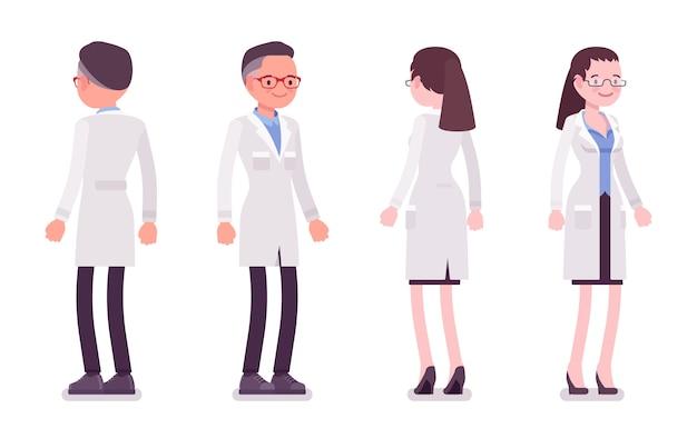 Мужской и женский ученый стоя Premium векторы
