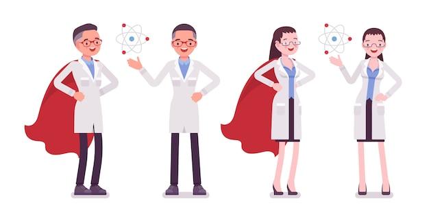 Мужской и женский ученый с символами Premium векторы