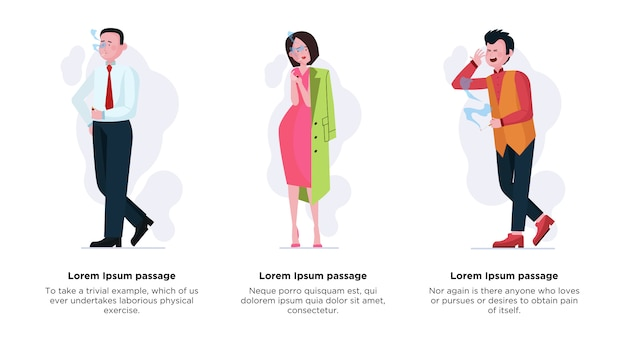 Набор курящих мужчин и женщин Premium векторы