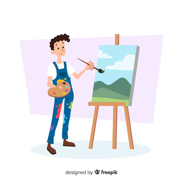 Male artist doing his work Free Vector