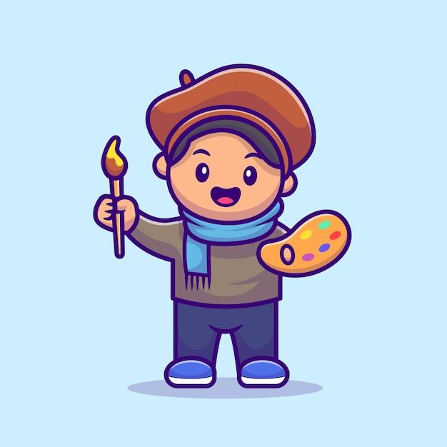 남성 아티스트 화가 만화 그림. 사람들이 직업 아이콘 개념 무료 벡터
