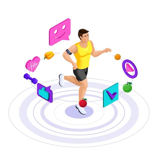 남자 선수, 아름다운 스포츠 몸, 기차, 달리기, 건강한 라이프 스타일. 건강한 다이어트, 저칼로리 다이어트 프리미엄 벡터