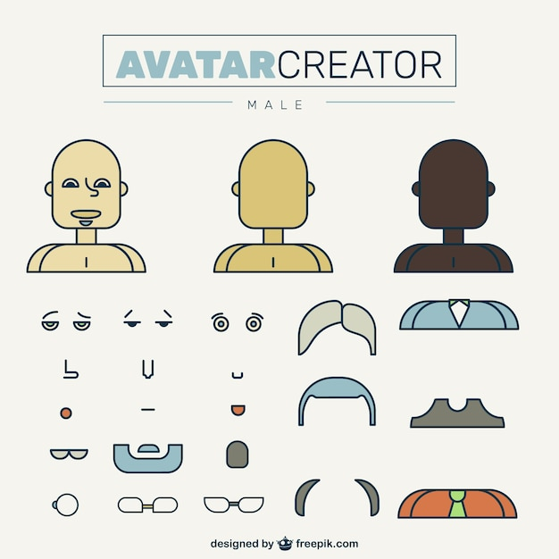 Male Avatar Creator In Flat Design Vector Free Download