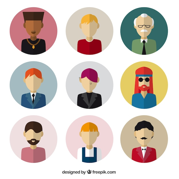 male avatars in flat design vector free download