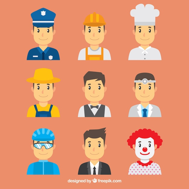 Male avatars with variety of jobs Free Vector