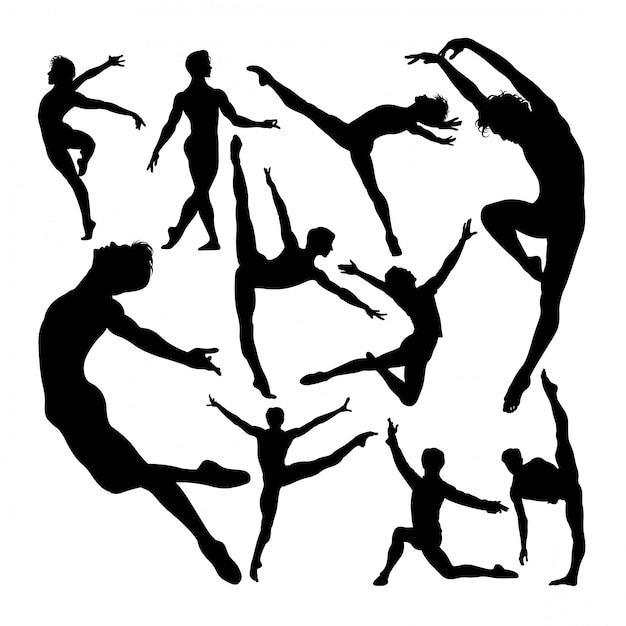Premium Vector | Male ballet dancer poses silhouettes