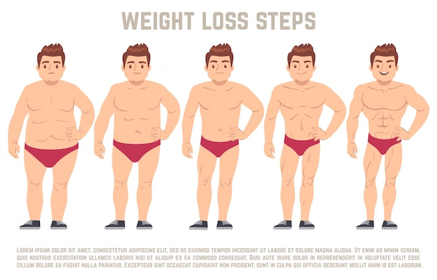 Male before and after diet, man body from fat to thin. weight loss steps vector illustration Premium Vector